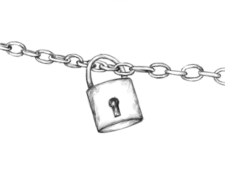 Illustration of a Padlock with chain