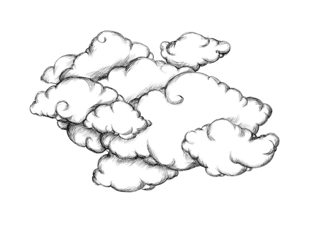Illustration of many clouds 写真素材