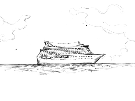 Illustration of a Cruise ship Stock Photo
