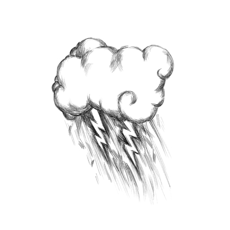 Illustration of a Storm cloud with rain
