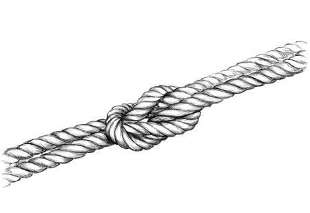 Illustration of a thick rope with a knot Stock Photo