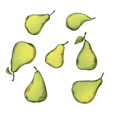 Illustration of some pears in different sizes Banco de Imagens