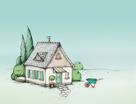 Illustration of a Cute house with a green garden Stock fotó