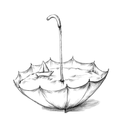 Illustration of an umbrella with water and a paper boat in it