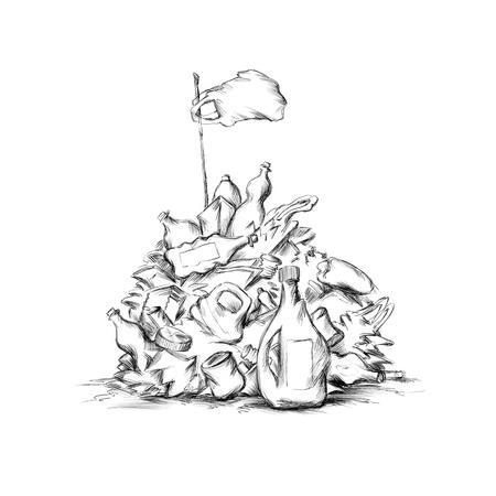 Illustration of Plastic garbage piles