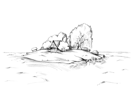 Illustration of a lonely island in the north with a hat 写真素材