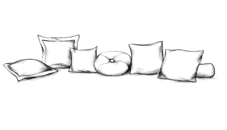 Illustration of various sofa cushions