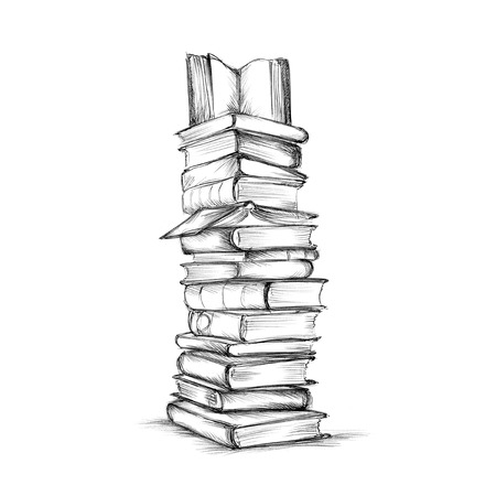 Illustration of a High stack of books