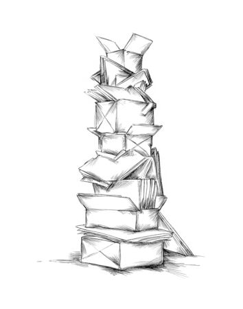 Illustration of a high Tower of old paper