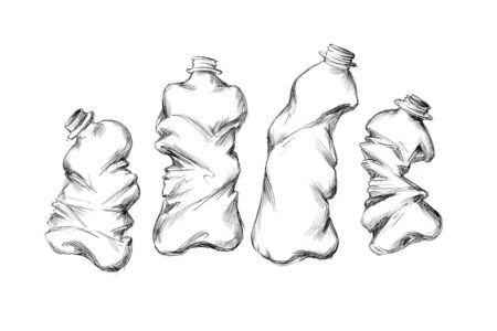 Illustration of some Broken plastic bottles