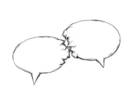 Illustration of two speech bubbles collide
