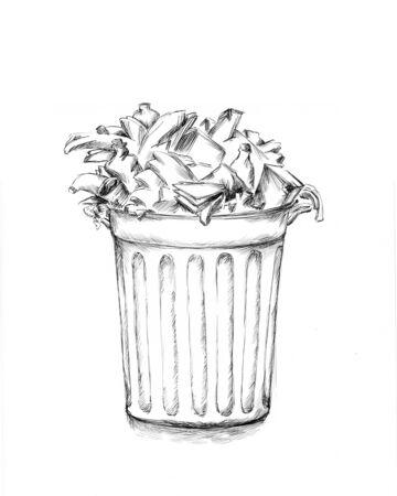 Handmade Illustration of an Overfilled dustbin