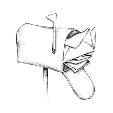 Illustration of an overcrowded mailbox Фото со стока
