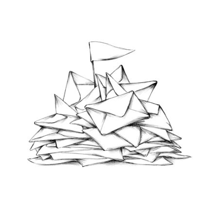 Illustration of some accumulated envelopes in the inbox Фото со стока