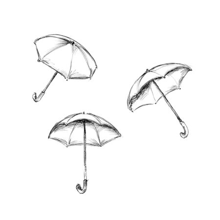 Illustration of three umbrellas