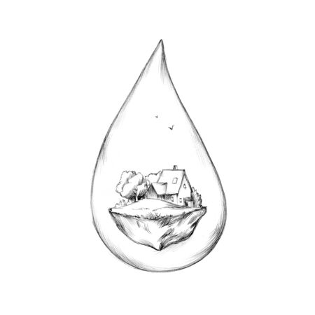 Illustration of a Water drop with house on hill as content