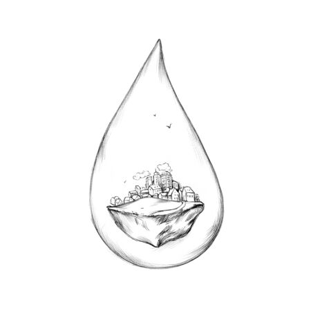 Illustration of a Water drop with city as content 写真素材 - 131445969