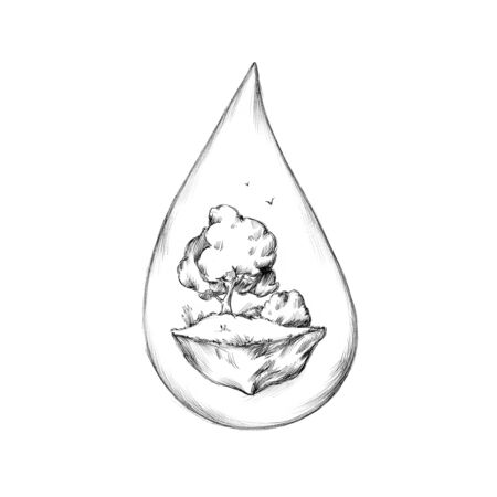 Illustration of a Water drop with tree on hill as content