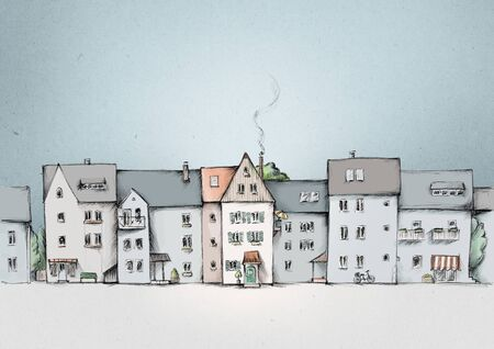 Illustration of a House line, street view in the city
