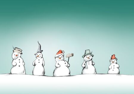Illustration of Five snowmen in a row Фото со стока