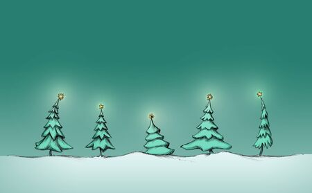 Five different fir-trees with stars
