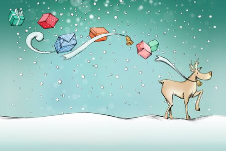 Illustration of a Reindeer on a walk with some flying gifts in the air