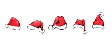 Illustration of five different red pointed caps for santa claus