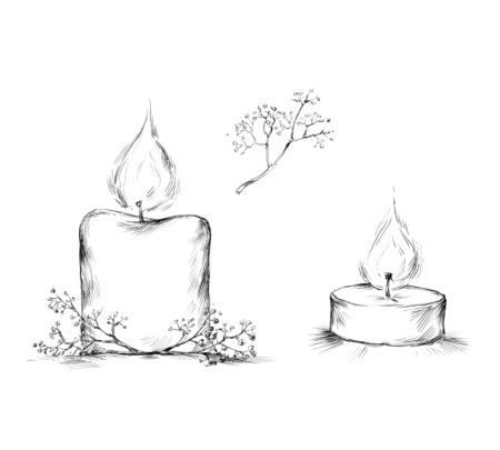 Illustration of a thick candle, a tealight and decoration