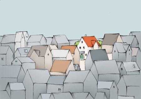 Illustration of a House in the crowd of many houses Фото со стока
