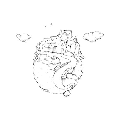 Illustration of a little planet with a small town and landscape