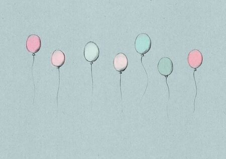 Sketchy illustration of some flying ballons on a light brown natural paper background Фото со стока