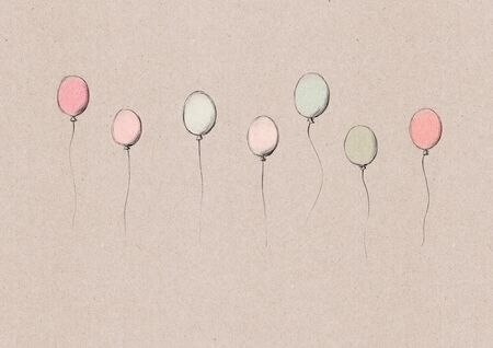 illustration of some flying ballons on a light brown natural paper background