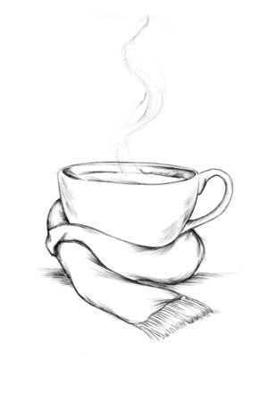 Illustration of a Teacup with a scarf