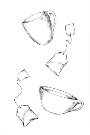 Illustration of flying teacups and flying tea bags Фото со стока