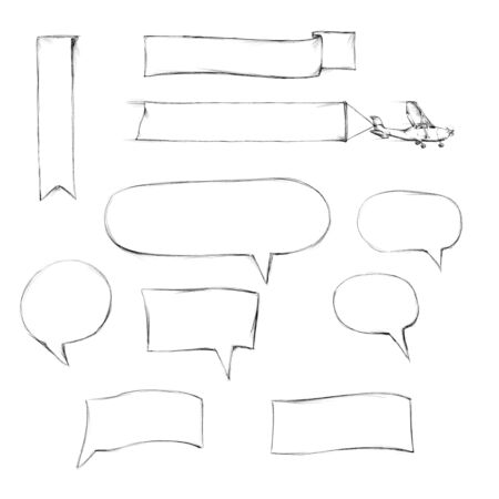 Illustration of Speech bubbles, banner, little plane with banner