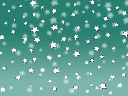 Stars trickle like snow from the sky against a green background