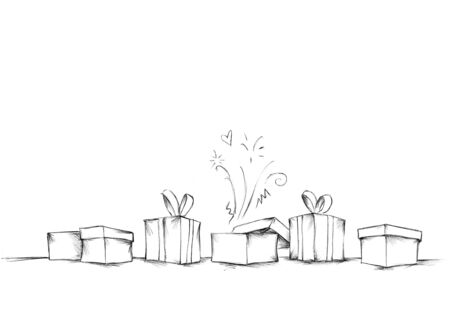 Illustration of some Gifts in a row in front of white background Фото со стока