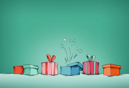 Illustration of some colorful Gifts in a row against green background