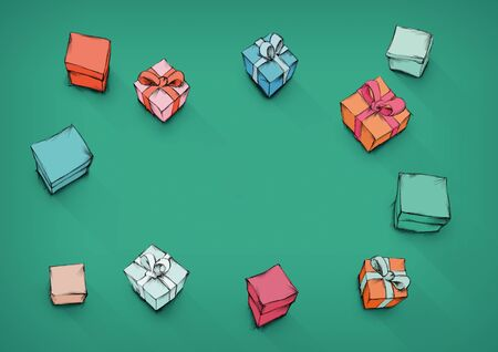 Illustrationen of some Colorful gifts from above with open space in the middle