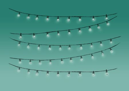 Illustration of Fairy lights with glowing bulbs against green background Фото со стока