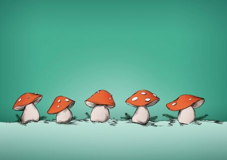 Illustration of some Fly agarics in a row in front of green background
