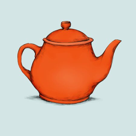 Illustration of a red teapot