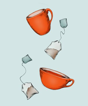 A red cup, a mug and two tea bags
