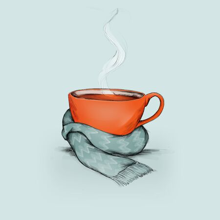 A filled teacup with a scarf