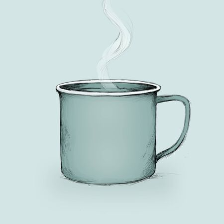 Illustration of a simple enamel mug with hot drink Фото со стока