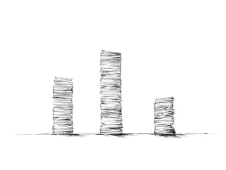 Illustration of three stacks of paper of different heights Фото со стока