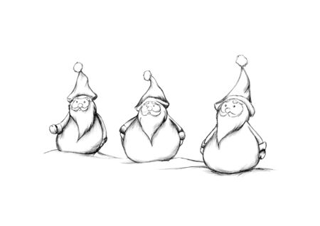 Illustration of three Christmas elves