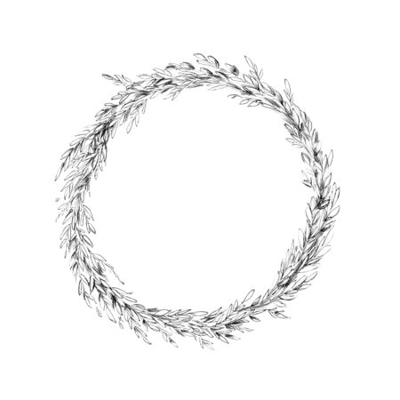 Illustration of a Simple boxwood wreath Фото со стока