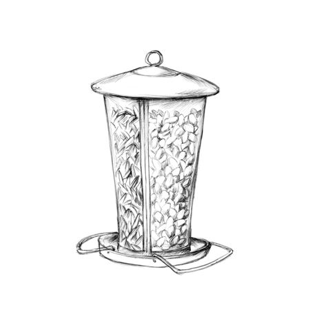 Illustration of a Bird food in a feed column