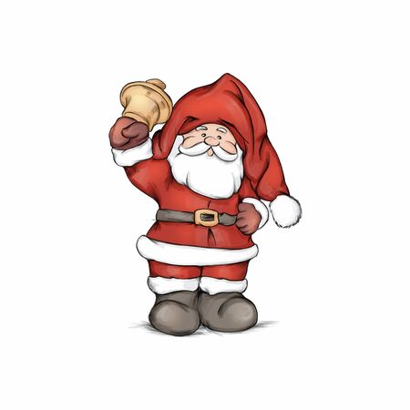 Illustration of Santa Claus figure with bell Фото со стока